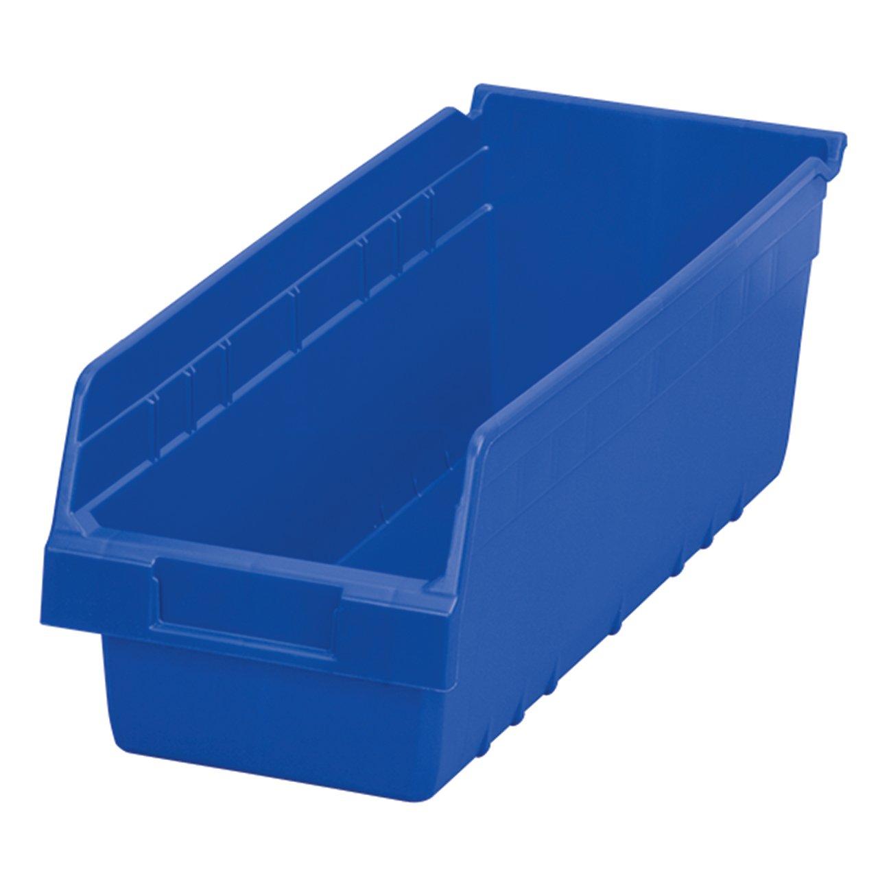 Akro-Mils 30098 ShelfMax Plastic Nesting Shelf Bin Box, 18-Inch Length x 6.75 Inch Width x 6-Inch Height, Case of 10, Blue by Akro-Mils