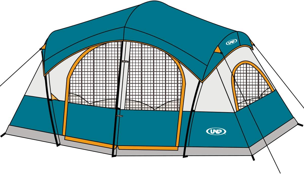 UNP Tents for Camping with 1 Mesh Door & 5 Large Mesh Windows (14' x 14' x78in)- 8 Person Tent Waterproof Windproof Easy Setup (5min), Family Tent with Dividers Awning (2 Room)