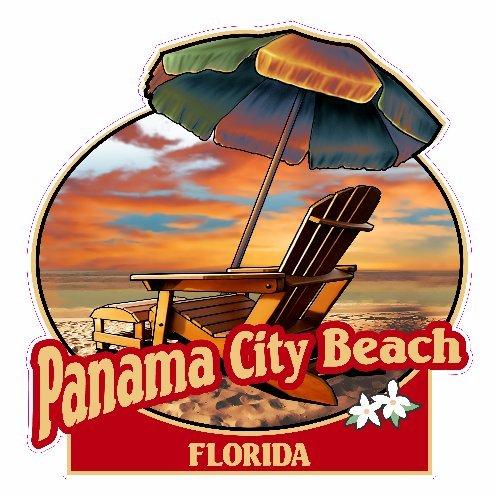 U.S. Custom Stickers Panama City Beach Florida Beach Sticker, - Panama Shops Beach City