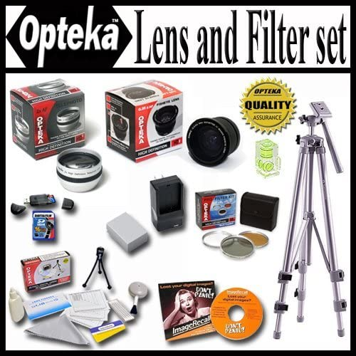 16GB Memory Card Replacment Battery Pro Case and Much more Rapid AC//DC Charger Opteka Ultimate Accessory package For The Panasonic Lumix DMC-FZ35 DMC-FZ28 DMC-FZ18 Package Includes 0.35x FishEye Lens 2.2X Telephoto Lens Tripod Piece Filter Kit