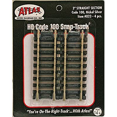 "Code 100 Nickel Silver 3"" Straight Snap-Track HO Scale Atlas Trains: Toys & Games"