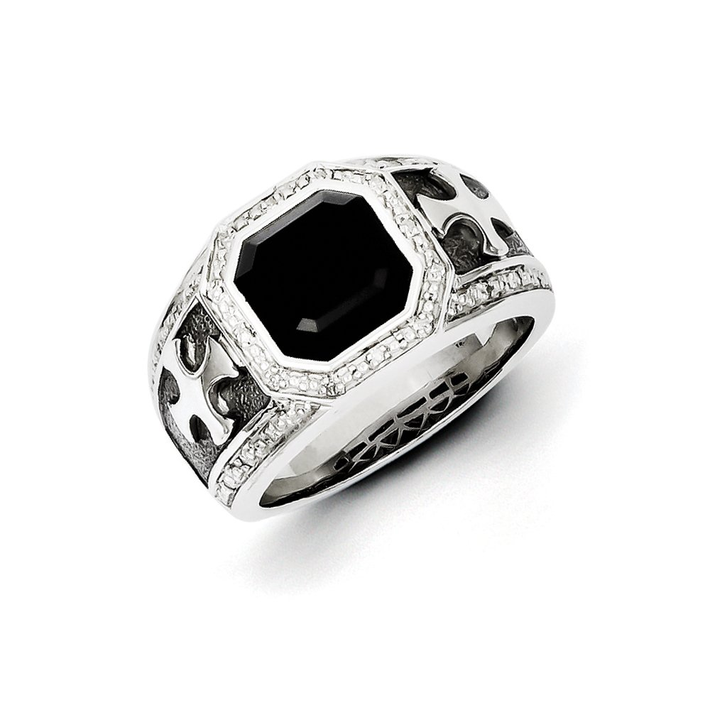 Onyx & .10 Ctw (I-J Color, I2-I3 Clarity) Diamond Octagon & Cross Tapered Ring in Sterling Silver Size 11