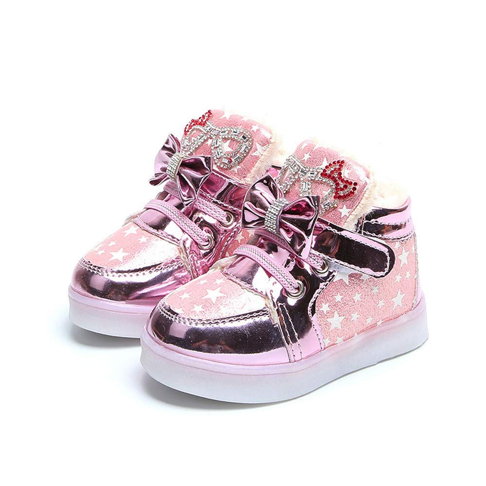 Robemon Enfants Kid Filles Star Bowknot Cristal Mesh LED Lumière Lumineuses Sneakers Chaussures