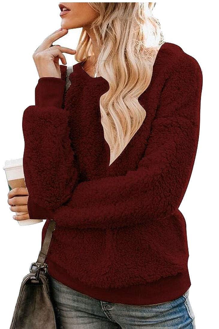 Generic Womens Warm Fuzzy Long Sleeve Loose Fleece Sweatshirts Pullover