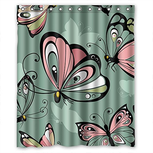 (MaSoyy Width X Height / 72 X 72 Inches / W H 180 By 180 Cm Polyester Butterfly Bathroom Curtains Fabric Is Fit For Gf Father Artwork Relatives Teens. Rust Proof)