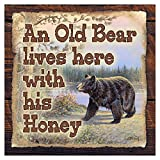 Cheap An Old Bear Lives Here with His Honey (Vintage Replica) 8″x8″ Aluminum Panel/ Fathers Day Gift (12″ x 12″)