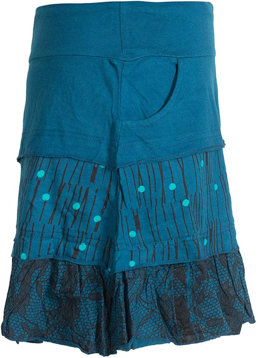 Asymmetrischer Damen Baumwoll-Rock mit R/üschen Taschen und Bl/ümchen Alternative Bekleidung Vishes