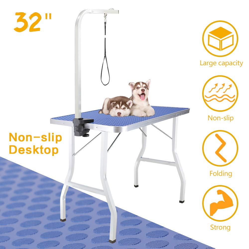 Royale Foldable Pet Dog Grooming Table, 32 Inch Portable Durable Drying Table with Non-Slip Table Top, Adjustable Height Arm&Noose for Dog or Cat by Royale