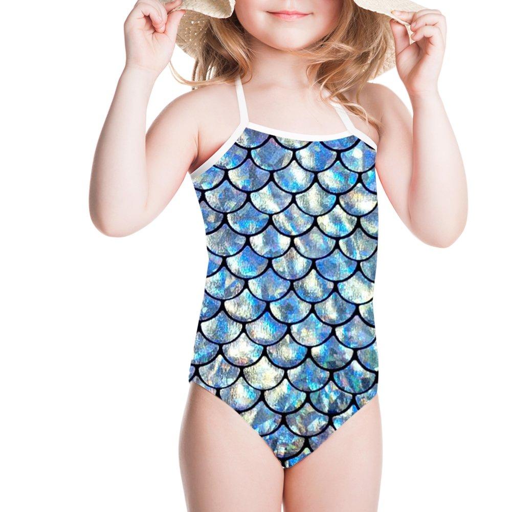 Coloranimal Kids Girls Swimsuit One Piece Swimwear Mermaid Scales Gymnastic Bath Suit K-C030BS1