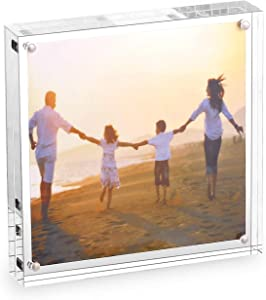 """HESIN Acrylic Phoyo Frame 5 by 5 inch Double Sided Frameless Picture Frame Magnetic Acrylic Block Desktop Photo Display Holder with Gift Box Package Thickness 12+12mm (5""""x5"""")"""