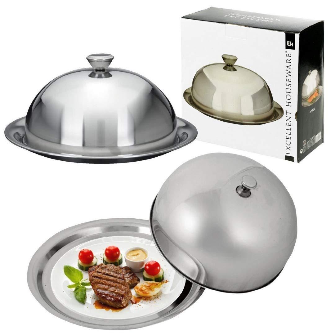 Tapa para alimentos acero inoxidable plato de cúpula de restaurante ribete fuente Bell tarro: Amazon.es: Hogar