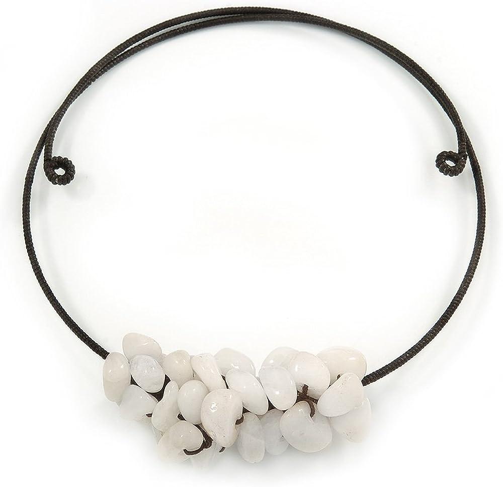 Colgante con racimo de gruesos piedra semipreciosa de Aquiles - ajustable collar de gargantilla de alambre