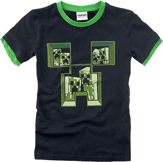 100/% Coton,/… Minecraft Creeper T-Shirt Noir//Vert 12 Ans