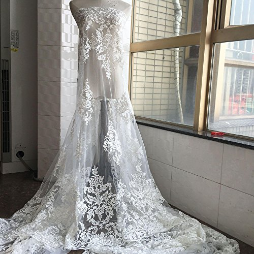 - 1 Yard Antique Embroidery Bridal Lace Fabric Off-White Floral Lace Mesh Wedding Lace Gauze 54 inches Wide for Bride Dress Gown Veiling