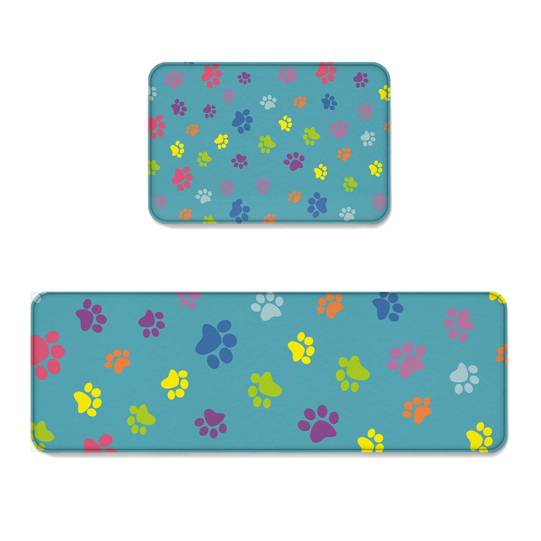 Beauty Decor 2 Piece Non-Slip Kitchen Mat Runner Rug Set Animal Doormat Area Rugs Dog Paw Prints 19.7''x31.5''+19.7''x63''