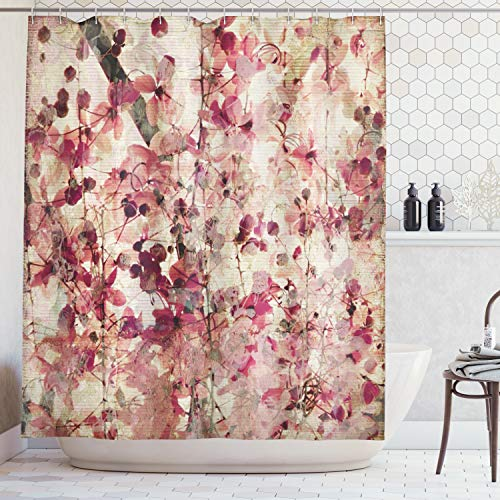 Blossom Cherry Bamboo - Ambesonne Floral Shower Curtain Antique Decor, Grungy Effect Cherry Blossoms on Ribbed Bamboo Retro Background Floral Art Work, Polyester Fabric Bathroom Shower Curtain Set with Hooks, Pink Beige
