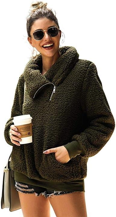 KISSMODA Womens Long Sleeve Zip Sweatshirt Fleece Pullover Outwear Coat with Pockets S-XXL
