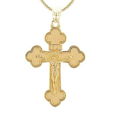 Kommt mit eine 45 cm kette 14 Karat Gelbgold Eastern Orthodox Kruzifix Kreuz Damen Anhänger Halskette Damen-Schmuck Schmuck