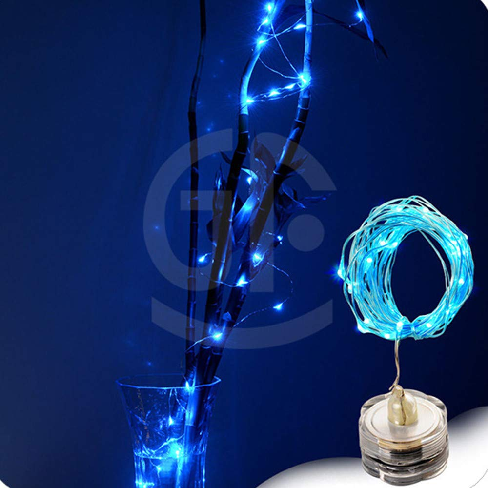 Waterproof Fairy Light, Elevin(TM) 1m 10 LED Submersible Waterproof Fairy Light Copper Wire String Lights Base Lamp (Blue)