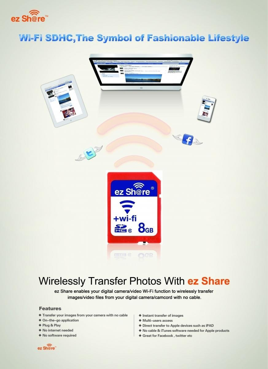 iClever Ezshare - Tarjeta SDHC de 8 GB (WiFi, Clase 10), color ...