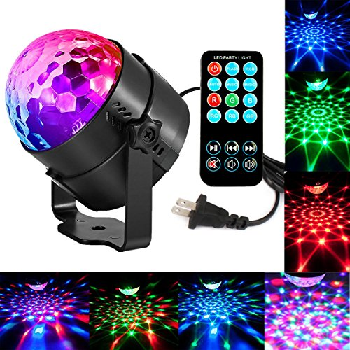 Sound Activated Party Lights Led Stage Lights LEDUR Disco DJ Lights LED RGB 7 Colors 3W Crystal Magic Rotating with Remote Control for Christmas Birthday Wedding DJ Karaoke Home Outdoor(Full color- 1)