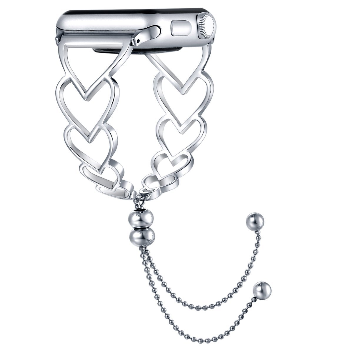 Fastgo for Apple Watch Band 38mm, 2018 June Newest Released Unique Stainless Steel Dressy Georgeous Feminine Replacement Band for Iwatch Series 3/2/1 Women Girls Adjustable Jewelry(Silver-38mm)