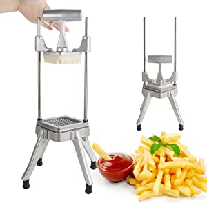 Ovovo Commercial French Fry Cutter 1/4 Inch Stainless Steel Potato Press French Fries Vegetable Fruit Dicer Chopper Professional Quick Slicer Machine for Restaurant Hotel Use