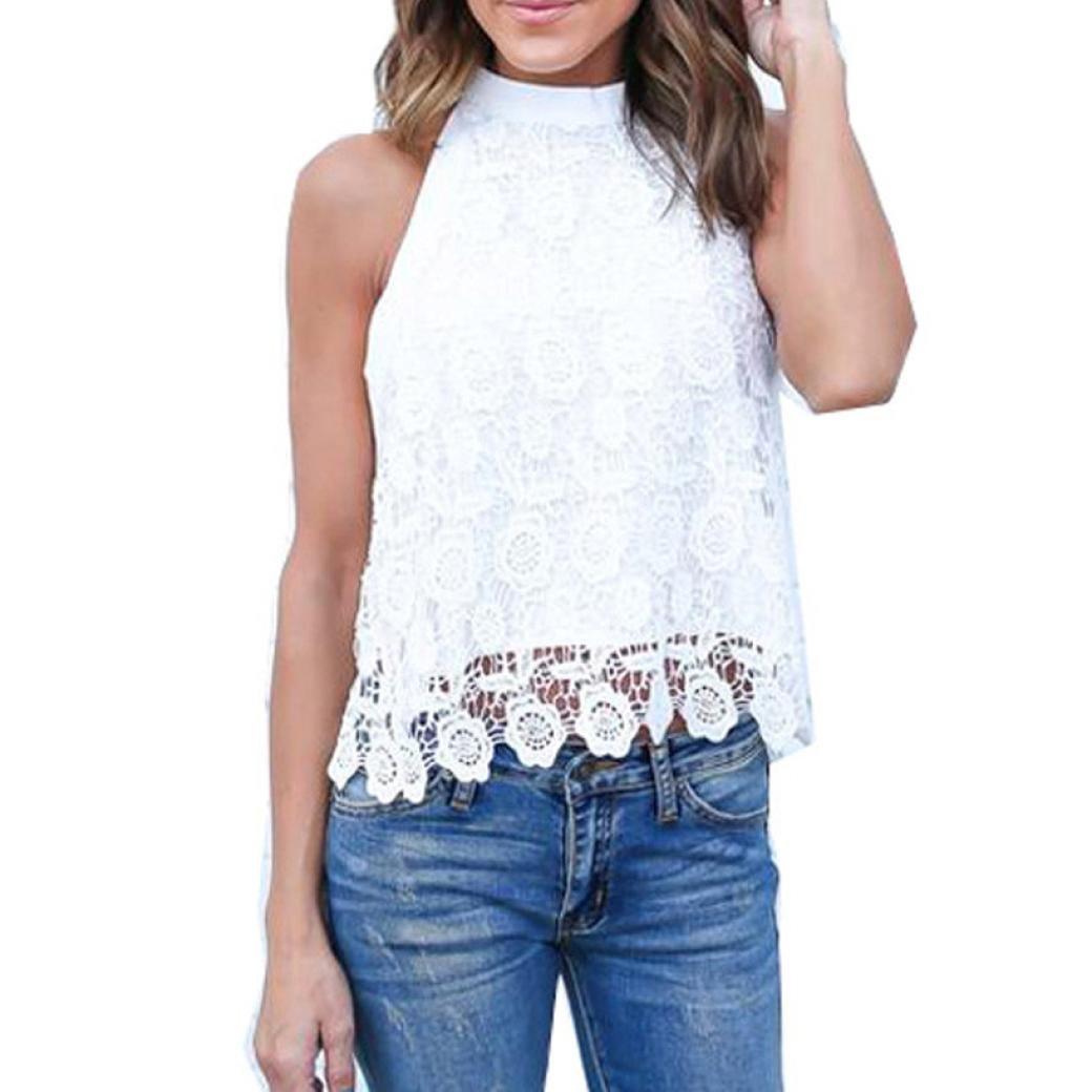 SANNYSIS Women Summer Lace Backless T-shirt Tank Tops Blouse SANNYSIS_B352
