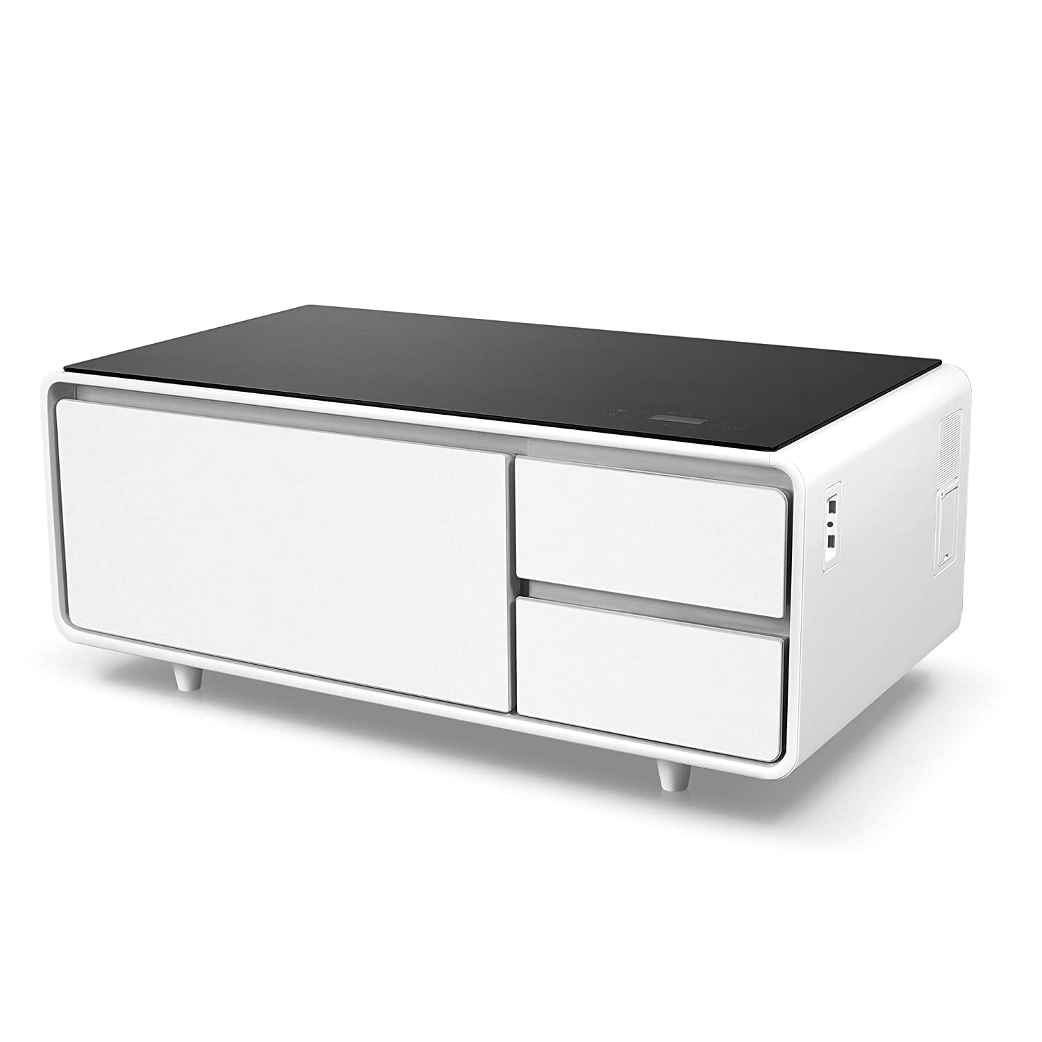 Refrigerator Coffee Table.Sobro Soctb300whbk Coffee Table With Refrigerator Drawer Bluetooth Speakers Led Lights Usb Charging Ports For Tablets Laptops Or A Cell Phone