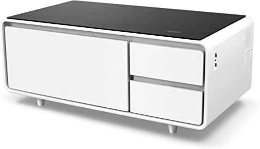 Sobro Soctb300whbk Coffee Table With Refrigerator Drawer Bluetooth Speakers Led Lights Usb Charging Ports For Tablets Laptops Or A Cell Phone