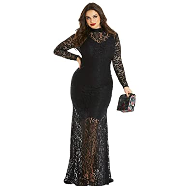 00e73c54bb Image Unavailable. Image not available for. Color: Sensfun Black Lace  Dresses Long ...