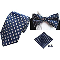 Men Elegant Floral Neck Tie & Party Bowtie & Pocket Square & Cufflinks Set 4 Pcs