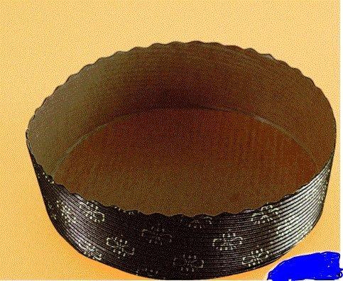 10 Einweg Papier Backformen rund Ø 18 cm x 3 cm braun gold mit Motiv
