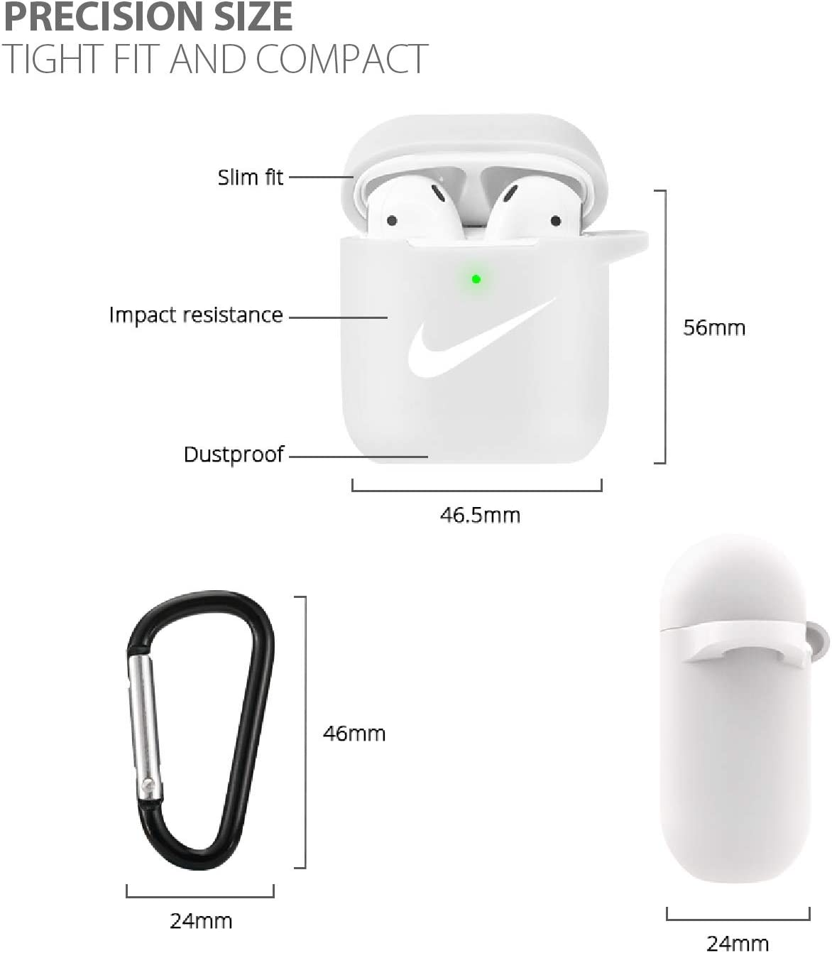 Upgrade AirPods Case Cover Silicone Skin Protective Airpods Accessories for Apple Airpods 2 /& 1 Charging Case with Anti-Lost Carabiner Black Front LED Visible Airpods Case