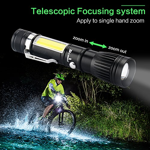 Domini LED Tactical Flashlight - USB Rechargeable Zoomable Flashlight XM-L T6 + COB Torch for Camp Emergency Reading Car Checking and Work with USB charging (18650 battery including) by Domini (Image #3)