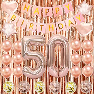 50th Birthday Decorations Happy 50th Birthday Decorations 50 Party Decorations for Women Rose Gold