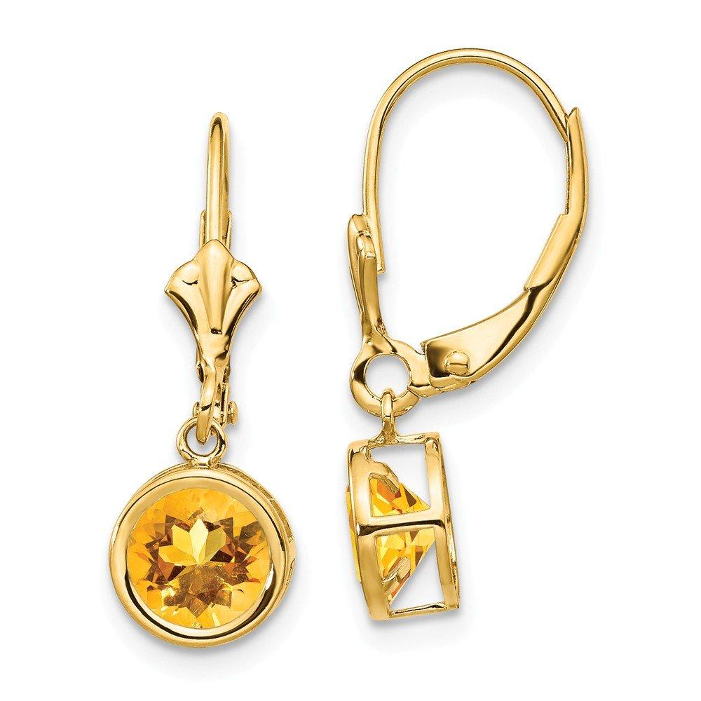Mia Diamonds 14k Yellow Gold 6mm Citrine Leverback Earrings