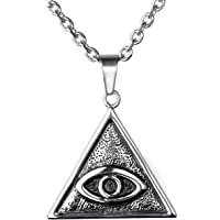 Zysta Retro Cool Ancient Myth Symbol Pendant Necklace Vintage Mysterious Legend Style Stainless Steel Thor's Hammer Odin Axe Celtic Knot Pyramid All-Seeing-Eye