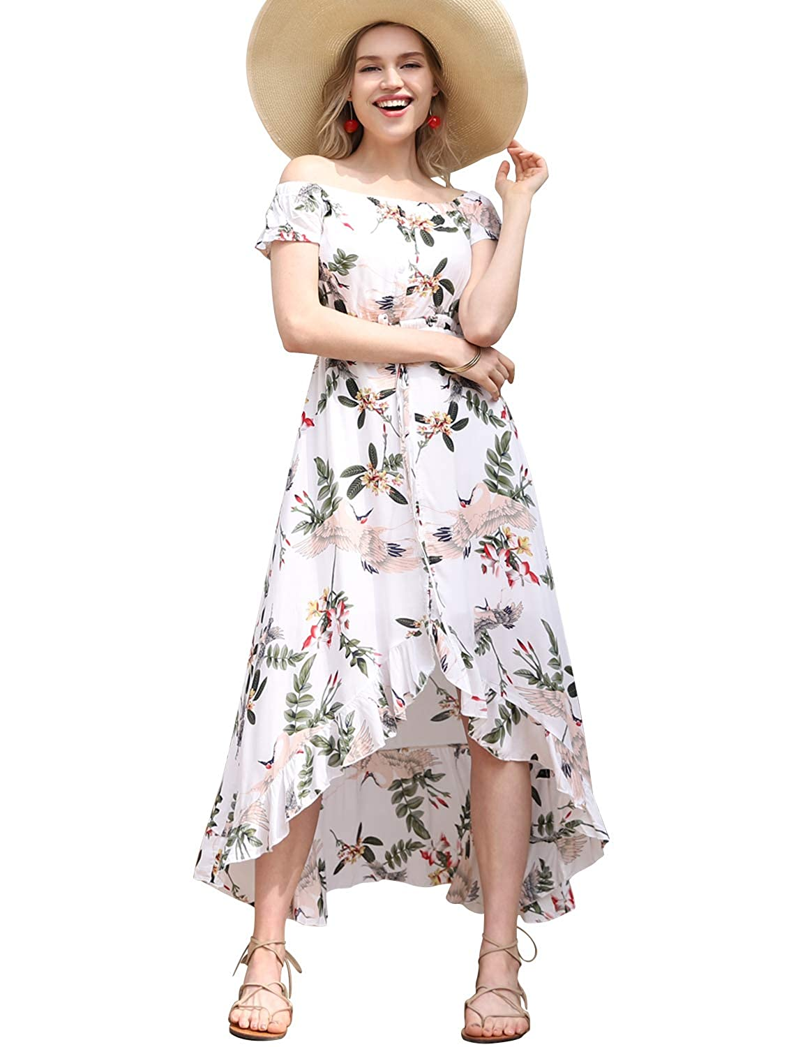 c1925c33726 Blooming Jelly Womens Off Shoulder Dresses Floral Strapless Button Down  Ruffle Asymmetrical Summer Long Maxi Dress at Amazon Women s Clothing store