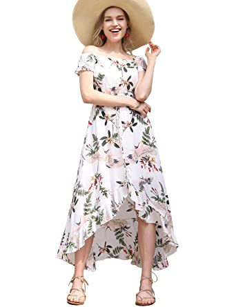 43faa7dc13b Blooming Jelly Womens Off Shoulder Dresses Floral Strapless Button Down  Ruffle Asymmetrical Summer Long Maxi Dress