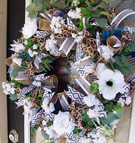 XL Deluxe Romantic Dark Blue Floral Front Door Deco Mesh Wreath, French Country, Everyday, Spring, Summer, Valentine's Day, Mother's Day, Easter (Ideas Easter Wreath Door)