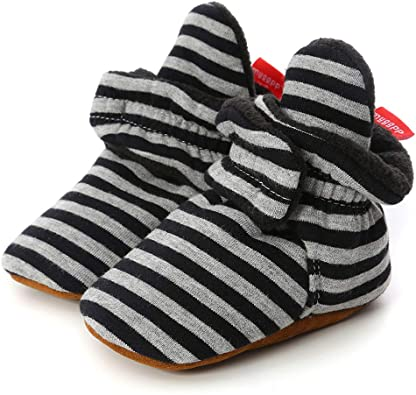 Infant Soft Soles Grippers Non-Skid Crib Shoe First Birthday Gift Sawimlgy US Newborn Baby Boys Girls Cozy Fleece Booties Stay On Slippers Socks