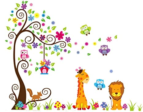 Livegallery Removable Diy Colorful Tree Jungle Animals Theme Owls Lion Giraffe Wall Decals Kids Babys Room Decorations Wall Sticker Decor Nursery
