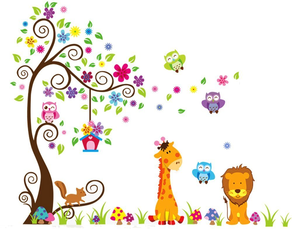 LiveGallery Removable DIY Colorful Tree & Jungle Animals Theme Owls, Lion, Giraffe Wall Decals Kids Babys Room Decorations Wall Sticker Decor Nursery Room Bedroom Art Decal Murals