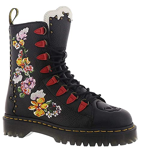 Dr Martens Womens Nyberg Embroidered Aunt Sally Leather Lace Up Boot Black-Black-3