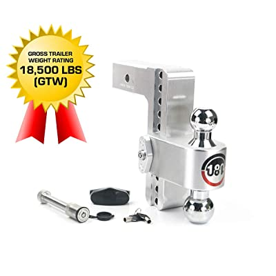 """Weigh Safe 180 HITCH CTB8-2.5-KA 8"""" Drop Hitch, 2.5"""" Receiver 18,500 LBS GTW - Adjustable Aluminum Trailer Hitch Ball Mount & Chrome Plated Combo Ball, Keyed Alike Key Lock and Hitch Pin: Automotive"""