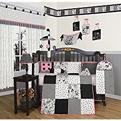 13-piece Crib Bedding Set, Black and White Flower Dots, Nursery Bedding Set Sport Patterns Of Dots And Flowers, And The Color Scheme Of Black And White With Pink Accents