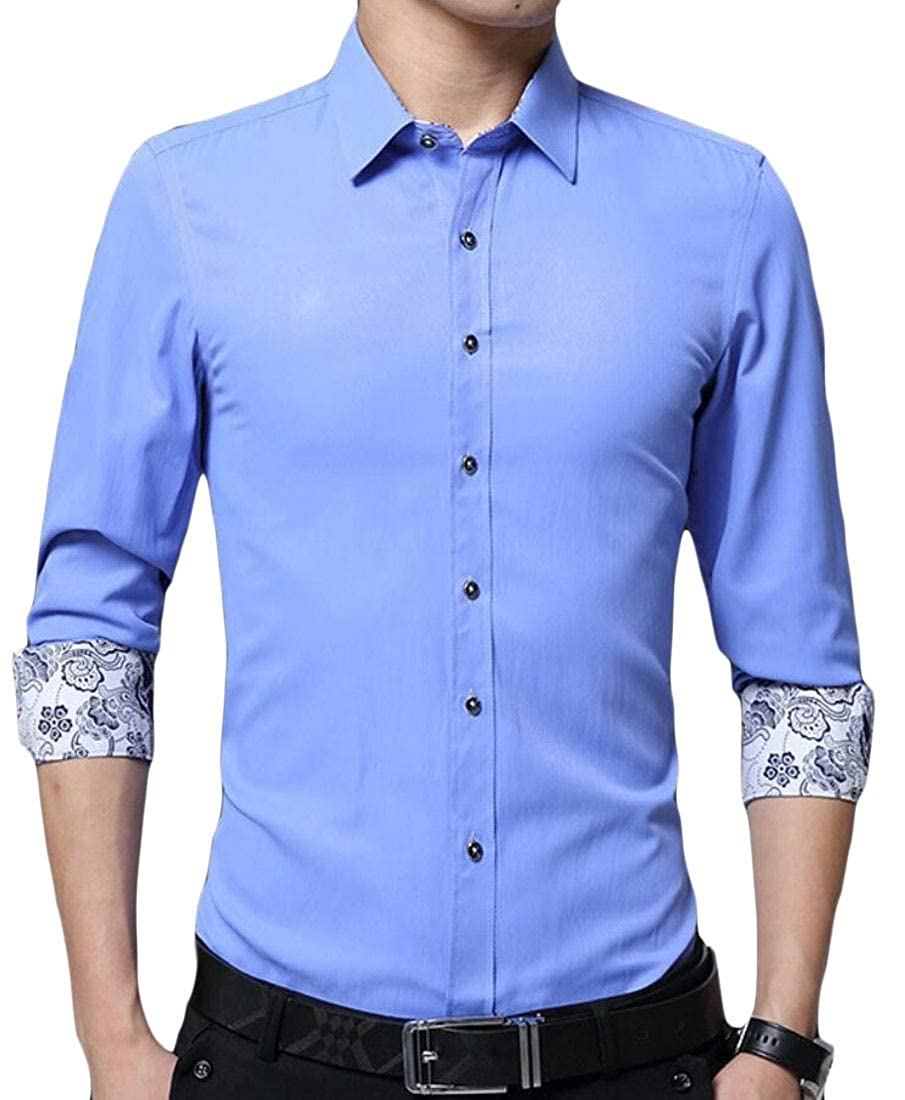 desolateness Men Formal Slim Fit Lapel Solid Color Casual Long Sleeve Shirts
