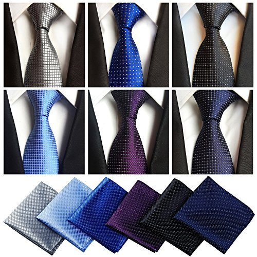 Lot 6 Pcs Mens Ties and 6 Free Matching Pocket Squares, Men's Classic Tie Necktie Woven Jacquard Neck Ties Gift box packing (6+6 style 04)