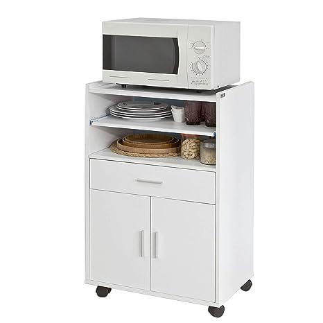 SoBuy Aparador Auxiliar bajo de Cocina para microondas,con 2 Puertas y 1 cajón,